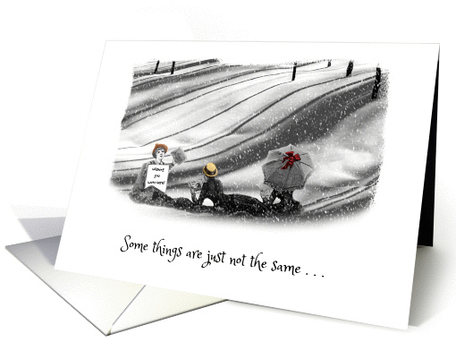 Missing You - Black and White Snow - Beach Scene - Humour card