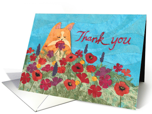 Kitty Cat Among the Flowers Says Thank You card (1533630)