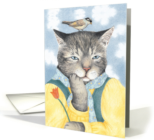 On My Mind Cat with Bird Valentine card (1215124)