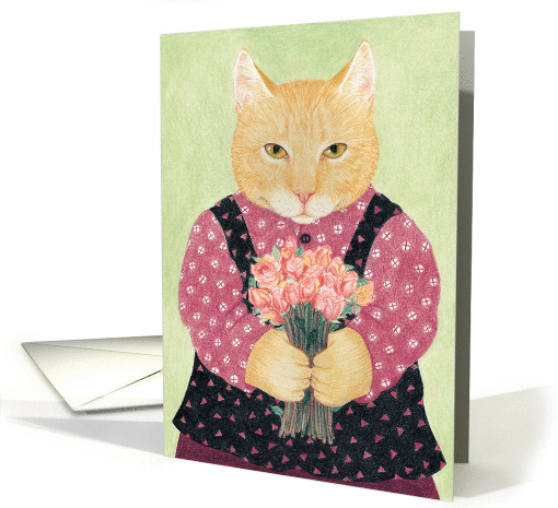 Cat with Bouquet Thanks So Much card (1223780)