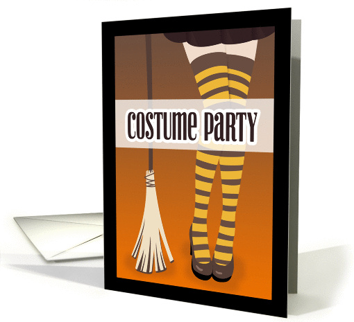 Witch's Legs with Broom Costume Party Invitation card (1383150)