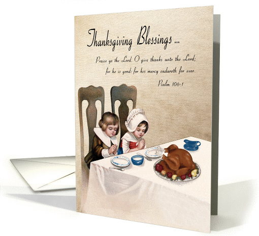 Vintage Thanksgiving Blessings with Praying Children and... (1387680)