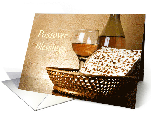 Passover Blessings - Matzo and Wine card (1368728)