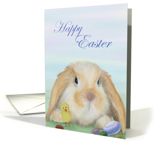 Happy Easter with bunny, chick and eggs card (1309806)