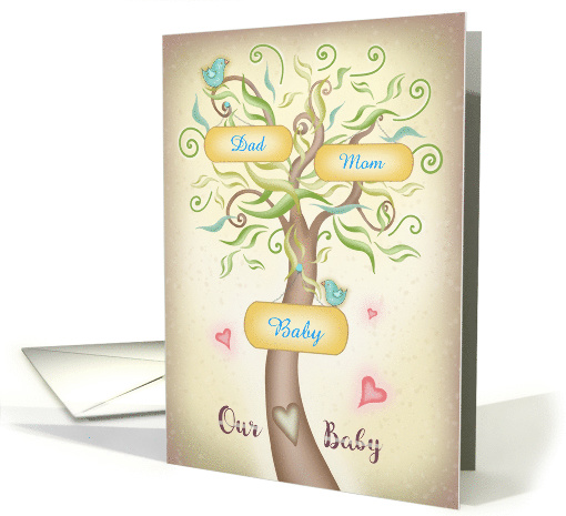 Family Tree Customize with Mom, Dad, Baby names card (1482682)
