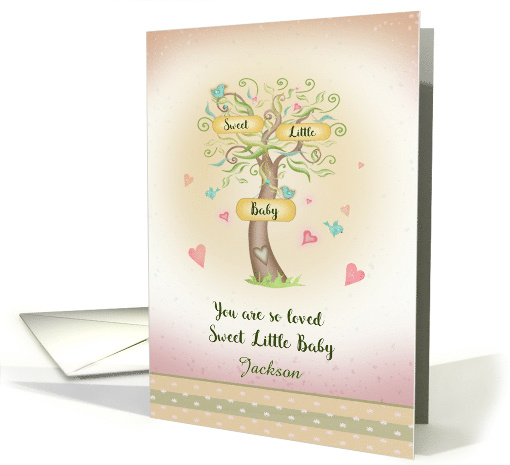 You are So Loved Sweet Little Baby with Tree, Hearts, Birds card