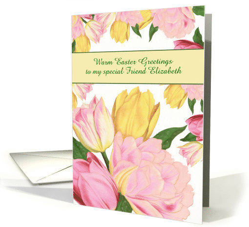 Name and Relationship Customizable, Easter Blessings, Tulips card