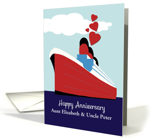 Customize, Happy Wedding Anniversary, Cruise Ship, Hearts card