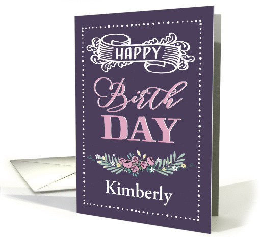 Customizable, Happy Birthday, Word-Art, Floral, Trendy, Lavender card