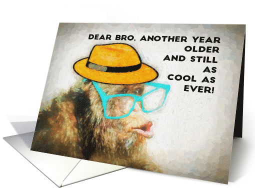 Dear Bro, Another Year Older, Happy Birthday, MEME, Chimp card