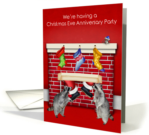 Invitations to Christmas Eve Anniversary Party, general, raccoons card