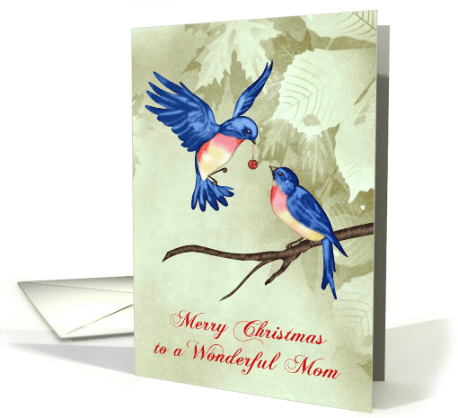 Christmas to Mom Card with Beautiful Blue Birds One has... (1409106)
