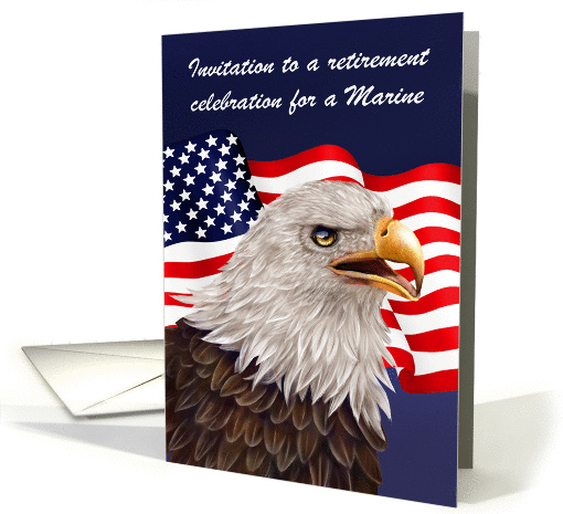 Invitations to Retirement as a Marine Party, a proud bald eagle card
