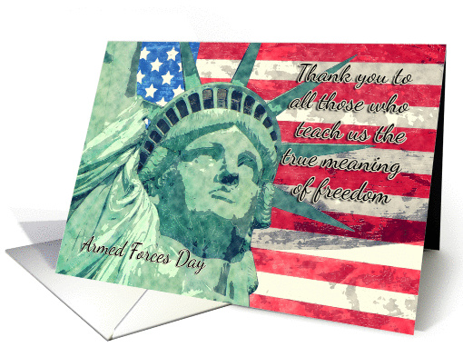 Statue of Liberty And American Flag Watercolor, Armed Forces Day card