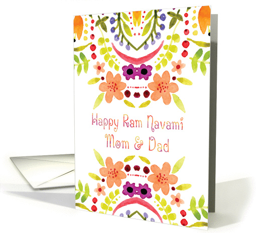 Mom & Dad, Ram Navami With Watercolor Flowers card (1428330)