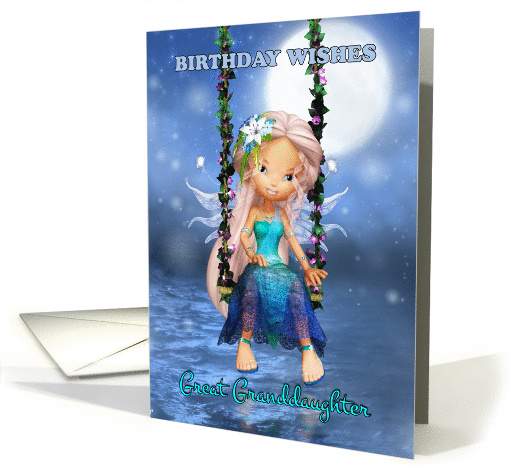 Great Granddaughter, Happy Birthday cute fairy on a floral swing card
