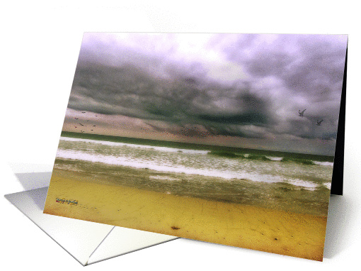 Angry October Sky, Blank Note Card in Golds and Grays,... (1420144)