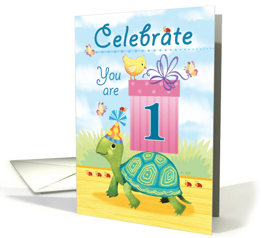 One Year Old Happy Birthday Turtle Delivering a Pink Present card