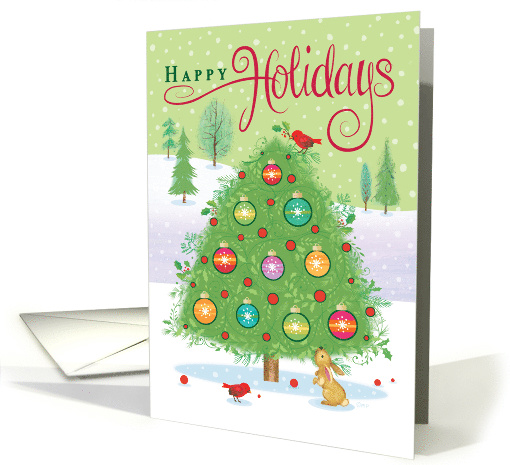 Colorful Christmas Tree Cardinals Happy Holidays card (1500534)