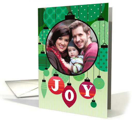 Red and Green Joy Ornaments Custom Photo Christmas card (1506386)