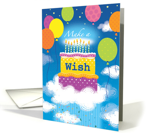 Birthday Make a WIsh Cake Balloons Blue Sky card (1508320)