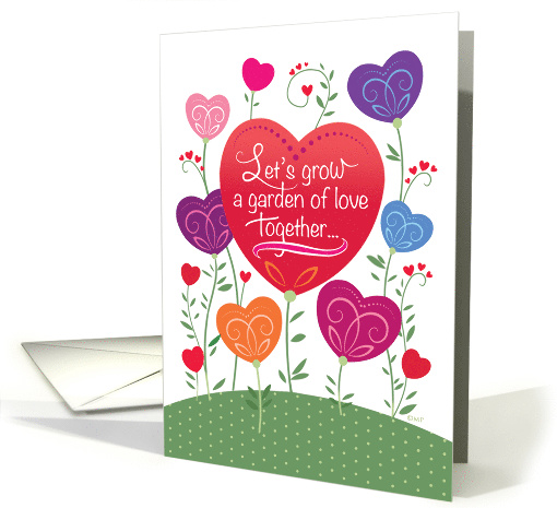 Colorful Heart Flowers Valentines Day Garden card (1510122)