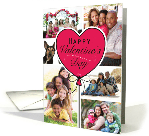 Heart Balloon Happy Valentine's Day Custom Photo Collage card