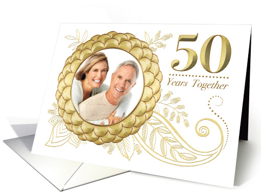50th Wedding Anniversary Invitation Gold Flowers Paisley... (1511652)