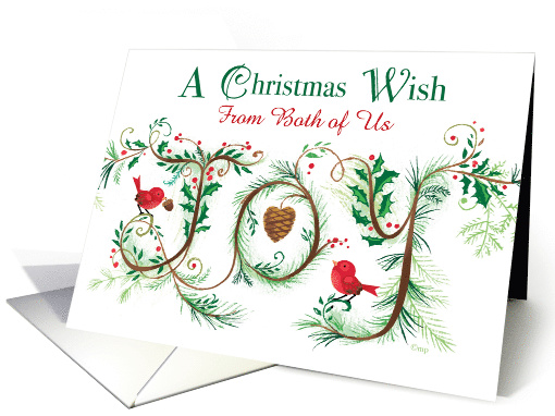 Merry Christmas Joy from Both of Us Hand Lettered card (1541884)