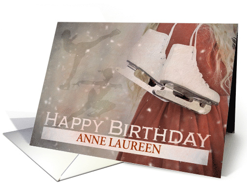 Custom Happy Birthday with Ice Skates and Silhouette Ice Skater card