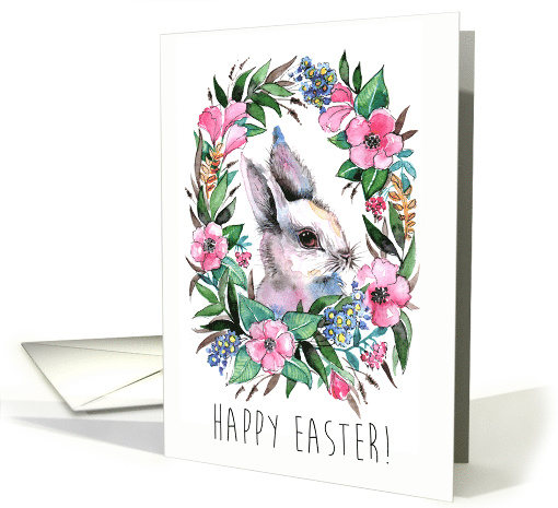 Happy Easter Cute Watercolor Bunny and Flower Vignette card (1555890)