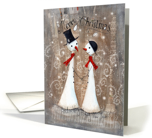 Cute Christmas Snowman and Snow-woman for Couple Holding... (1458876)