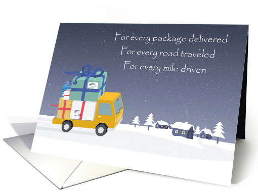 Merry Christmas Package Delivery Driver With Holiday Gifts card