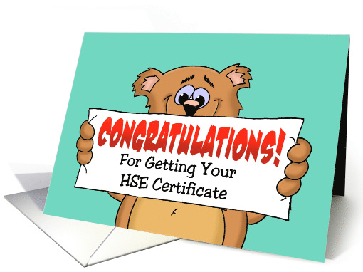 Congratulations On Getting HSE Certificate With Cartoon Bear card
