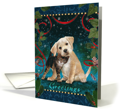 Kitten and Puppy Season's Greetings card (1537250)