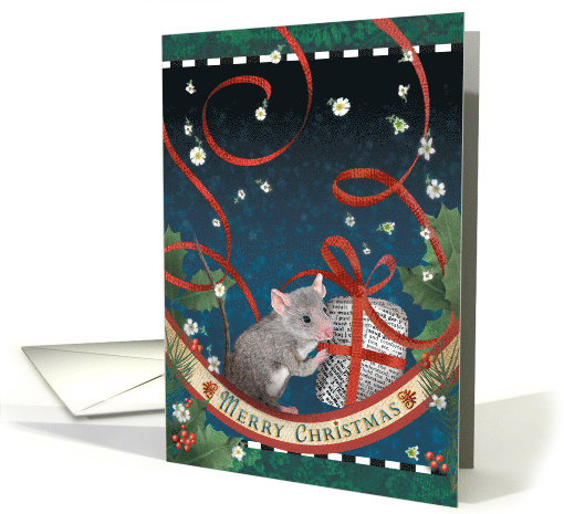 Mouse's Surprise Gift with Holly, Ribbon, and Flowers card (1538436)