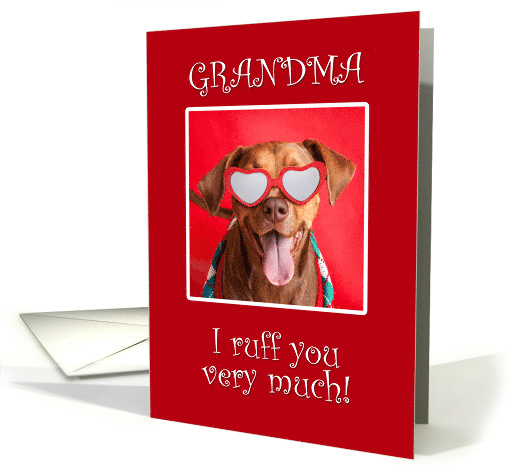Happy Valentine's Day Grandma Pit Bull Dog in Heart Glasses card