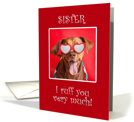 Happy Valentine's Day Sister Pit Bull Dog in Heart Glasses card
