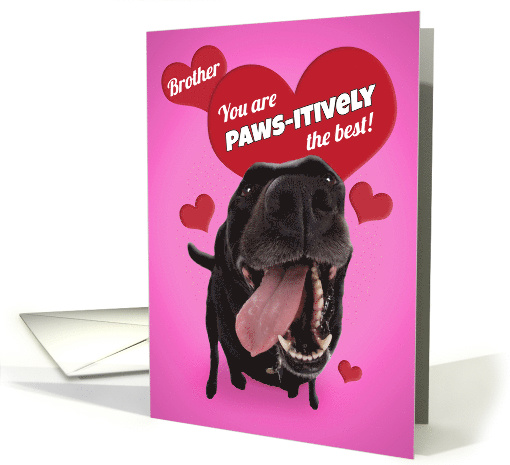 Happy Birthday Brother Cute Dog Photo With Hearts Humor card (1554732)