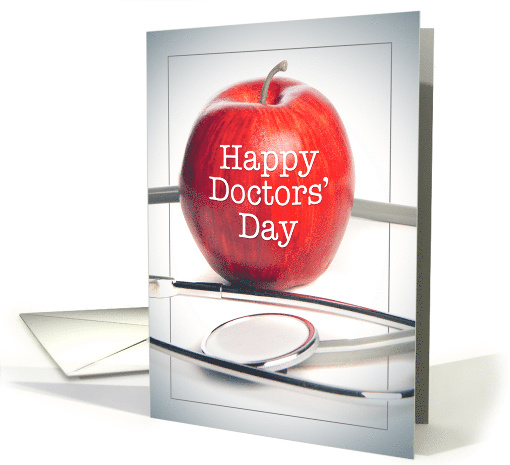 Happy Doctors' Day Apple and Stethoscope Image card (1603940)
