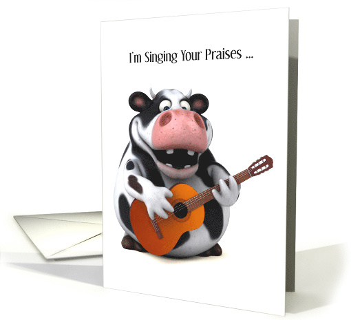 Singing Holstein Cow with Guitar Thank You card (1529652)