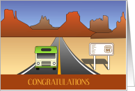 Wide Open Road RV Congratulations Recreational Vehicle Camping card
