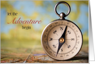Graduate Adventure Begins Map and Compass Off to College Party Invitation card