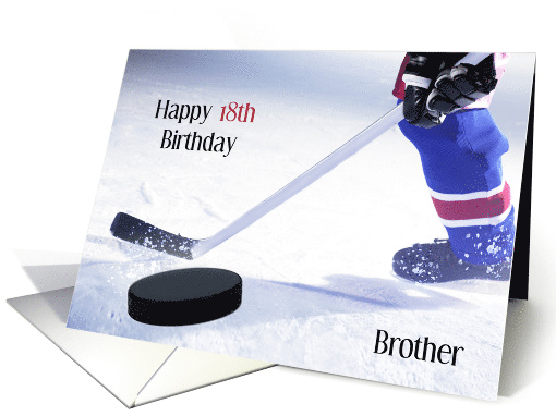 Brother 18th Birthday Ice Hockey Player And Puck Humor Card 1385802