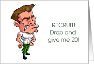 Boot Camp Recruit Drop and Give me 20 Hugs Drill Instructor card