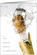 Pop the Champagne for Two Special Days in One Wedding & Birthday card