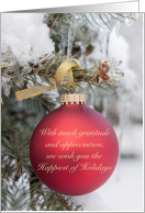 Red Christmas Ornament Happiest of Holidays with Gratitude & Thanks for Business Customers card