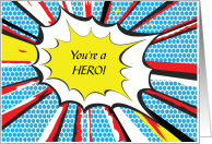 Kidney Organ Donation You're a Hero Red Blue Pop Art Comic Caption card