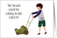 First Job Lawn Mowing Yard Care Teen Boy Congratulations card