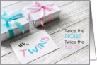 Big Sister Twin Baby Sister & Brother Gifts Pink & Blue Noise & Mess card